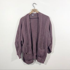 Charlotte Russe Purple Cable Knit Cardigan